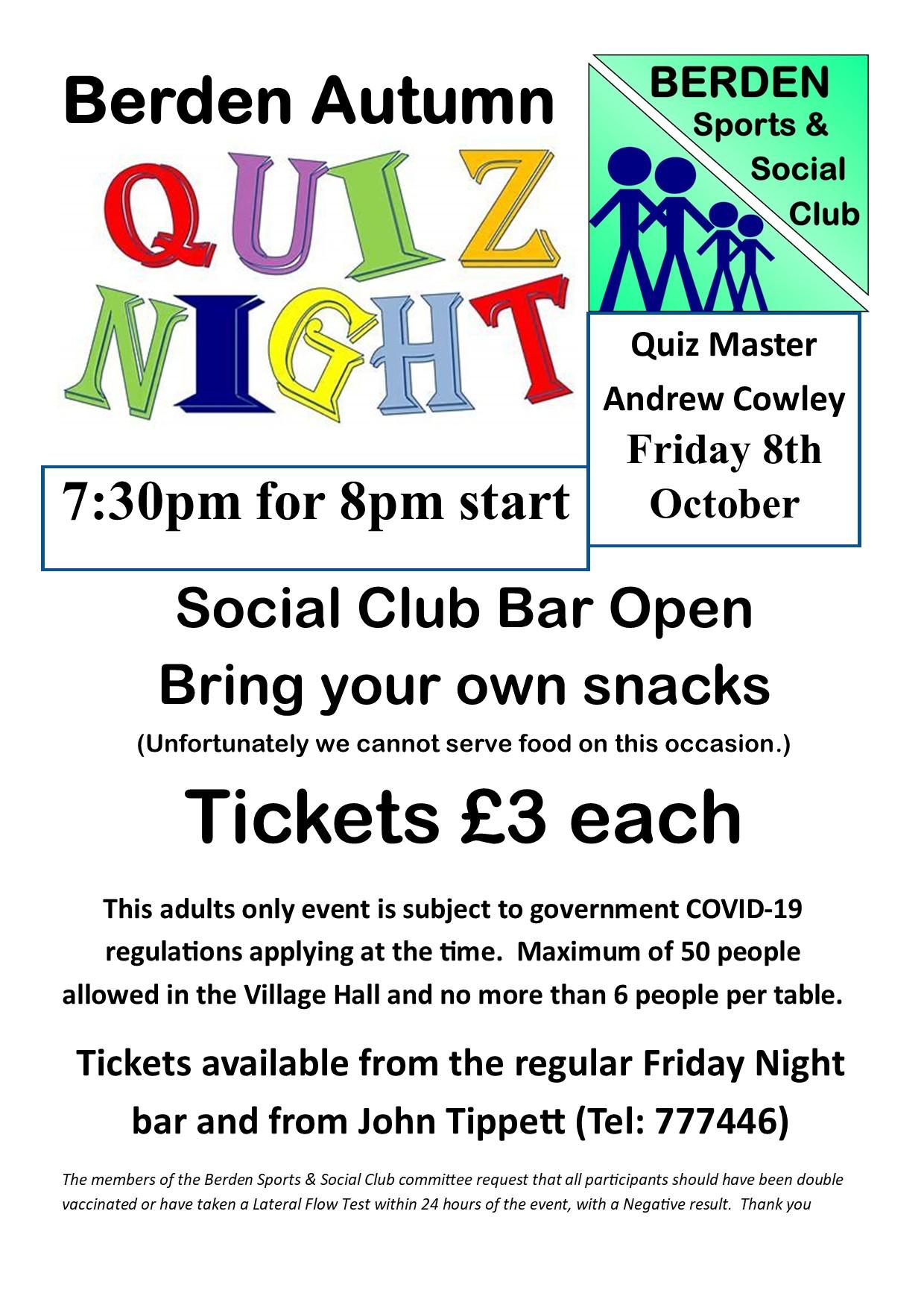 Poster Quiz Night 8-Oct-2021